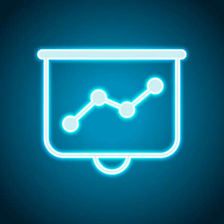 Projector screen for presentations, grow finance graphic. Neon style. Light decoration icon. Bright electric symbol