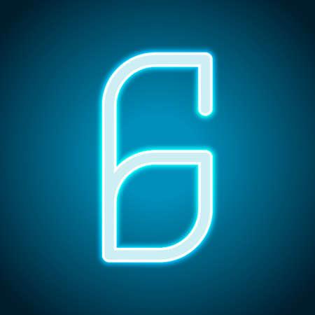 Number 6, numeral, sixth. Neon style. Light decoration icon. Bright electric symbol Ilustração