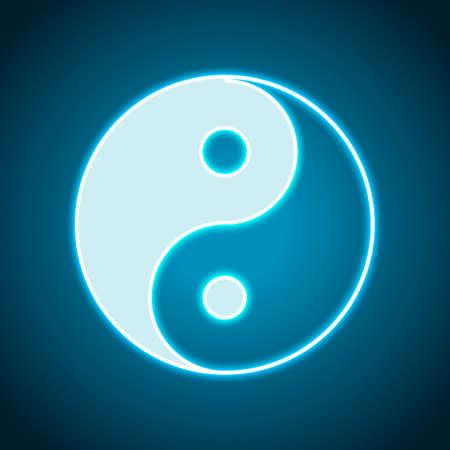 yin yan symbol. Neon style. Light decoration icon. Bright electric symbol