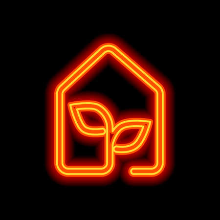 eco house icon concept. Orange neon style on black background. Light icon