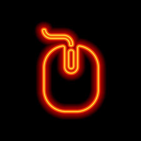 computer mouse icon. Orange neon style on black background. Light icon