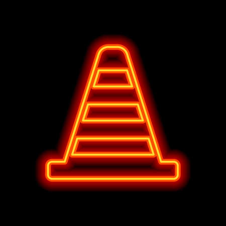 Cone Icon. Orange neon style on black background. Light icon