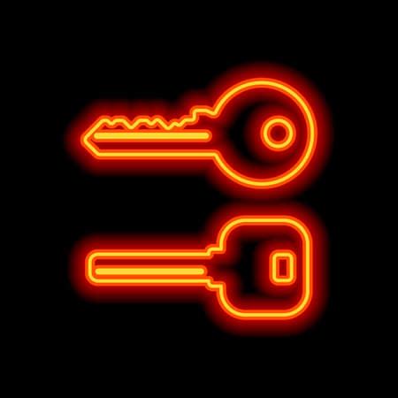 keys icons set. Orange neon style on black background. Light icon