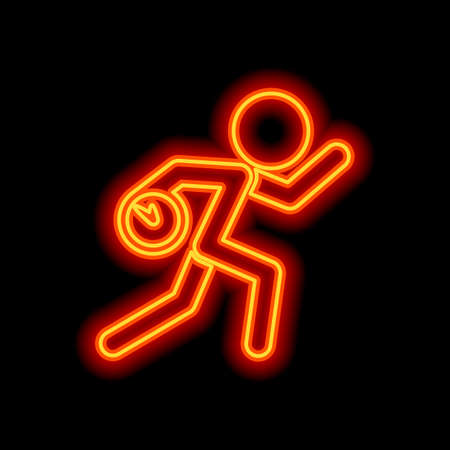 Running man with clock. Simple icon. To be late. An unpleasant situation. Orange neon style on black background. Light icon