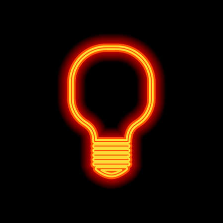 Light lamp icon. Orange neon style on black background. Light icon