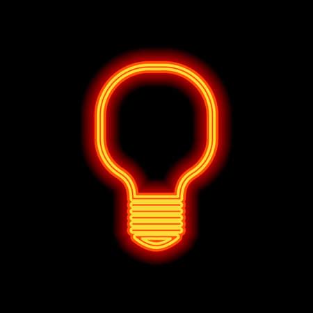 Light lamp icon. Orange neon style on black background. Light icon