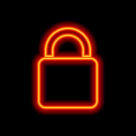 lock icon. Orange neon style on black background. Light icon Illustration