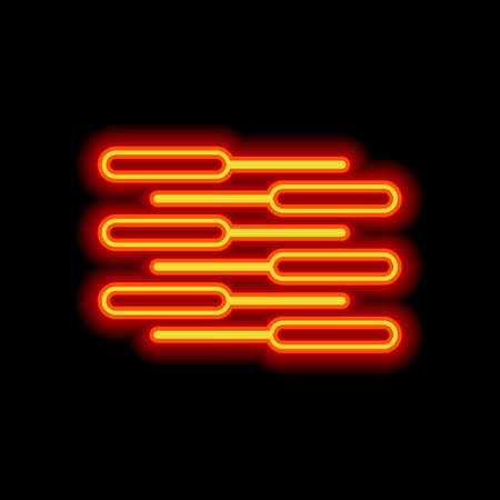 Double piano keyboard icon. Duet. Competition, Vertical view. Orange neon style on black background. Light icon