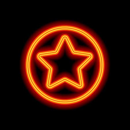 Stern im Kreissymbol. Orange Neon-Stil auf schwarzem Hintergrund. Lichtsymbol Vektorgrafik