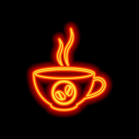 cup of hot coffee icon. Orange neon style on black background. Light icon