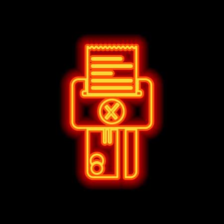 Credit card, POS terminal, failure icon. Orange neon style on black background. Light icon