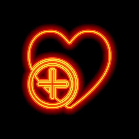 heart and plus. simple silhouette. Orange neon style on black background. Light icon Illustration