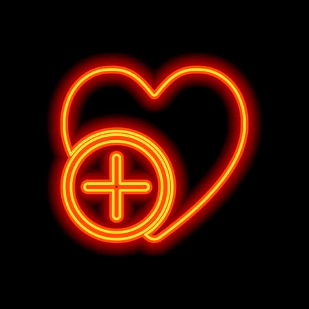 heart and plus. simple silhouette. Orange neon style on black background. Light icon Ilustração