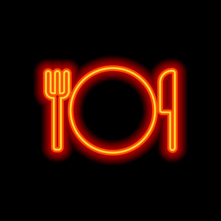cutlery. plate fork and knife icon. Orange neon style on black background. Light icon Stok Fotoğraf - 111837754