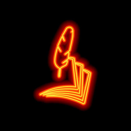 feather and paper. simple silhouette. Orange neon style on black background. Light icon