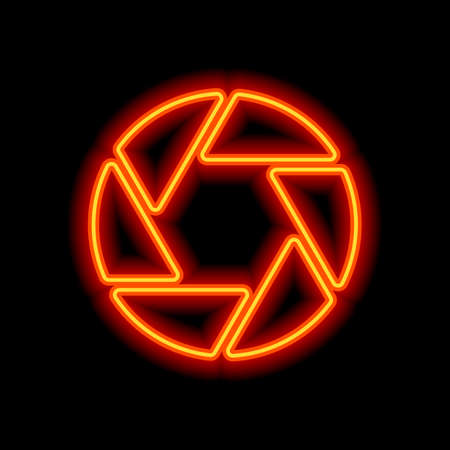 camera objective. simple silhouette. Orange neon style on black background. Light icon