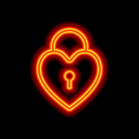 heart lock, padlock. simple silhouette. Orange neon style on black background. Light icon Vectores