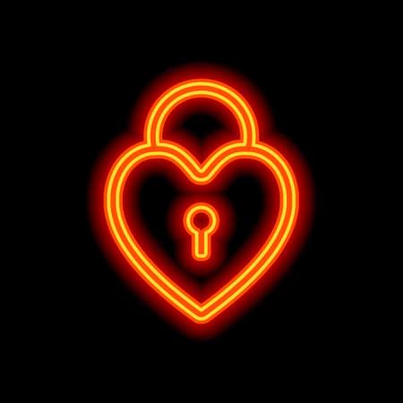 heart lock, padlock. simple silhouette. Orange neon style on black background. Light icon Illustration