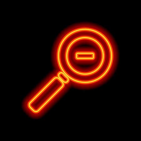 Zoom out icon. Orange neon style on black background. Light icon