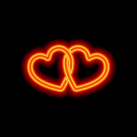 linked hearts icon. Orange neon style on black background. Light icon Vector Illustration