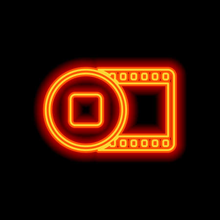 movie strip with stop symbol in circle. simple silhouette. Orange neon style on black background. Light icon