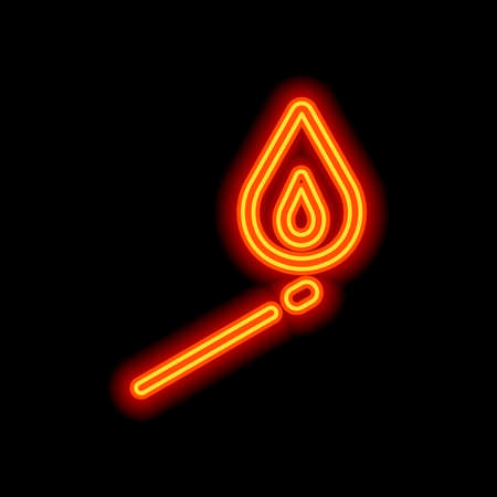 match with flame of fire. simple silhouette. Orange neon style on black background. Light icon Illustration