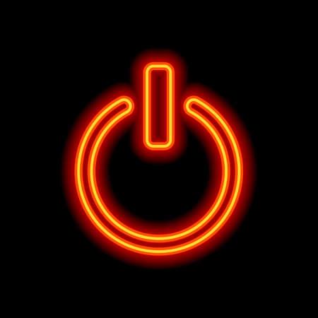 shut down, power. Orange neon style on black background. Light icon