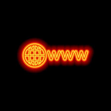 symbol of internet with globe and www. Orange neon style on black background. Light icon Illustration