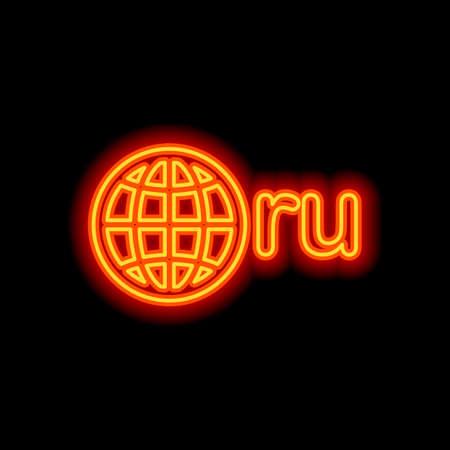 domain of Russia, globe and ru. Orange neon style on black background. Light icon
