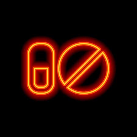 simple symbols of pills or vitamins. Orange neon style on black background. Light icon