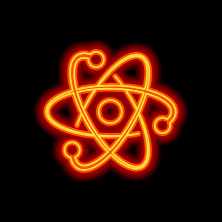 scientific atom symbol, logo, simple icon. Orange neon style on black background. Light icon Illustration