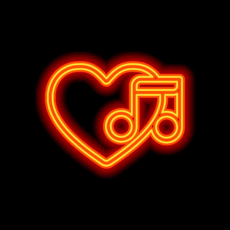 Heard and note, Favourite music. Linear icon with thin outline. Orange neon style on black background. Light icon Ilustração