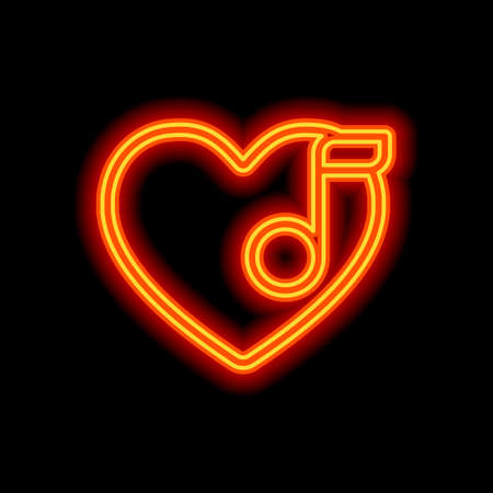 Heard and note, Favourite music. Linear icon with thin outline. Orange neon style on black background. Light icon