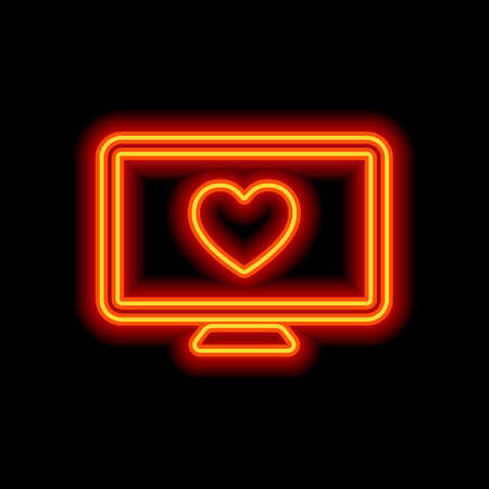 computer and heard. simple icon. Orange neon style on black background. Light icon