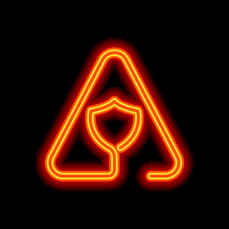 Shield in warning triangle. Problem with protect. Linear icon with thin outline. One line style. Orange neon style on black background. Light icon