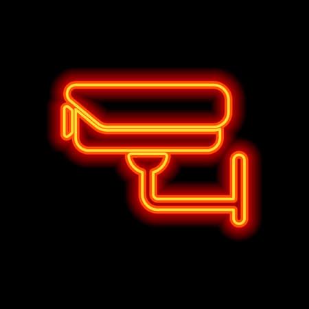 Caméra de sécurité. Icône de la technologie. Style néon orange sur fond noir. Icône de lumière Vecteurs