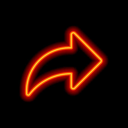Share icon with arrow. Orange neon style on black background. Light icon
