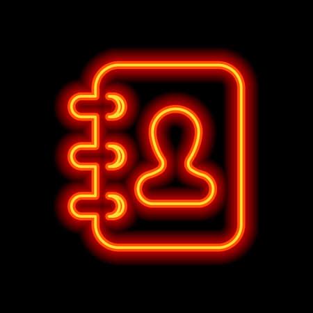 libreta de direcciones con el símbolo del hombre en la portada. Estilo de neón naranja sobre fondo negro. Icono de luz