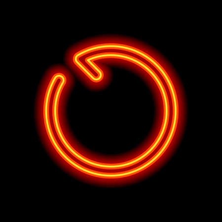 Simple arrow, update, reload, counterclockwise direction, backward. Navigation icon. Linear symbol with thin line. One line style. Orange neon style on black background. Light icon