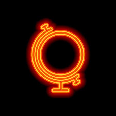 Einfacher Globus. Lineares Symbol, dünner Umriss. Orange Neon-Stil auf schwarzem Hintergrund. Lichtsymbol