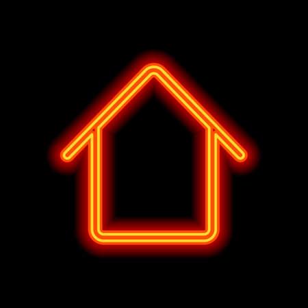 Simple house icon. Orange neon style on black background. Light icon 일러스트
