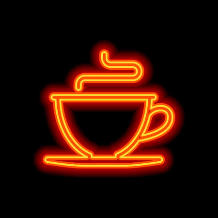 Simple cup of coffee or tea. Linear icon, thin outline. Orange neon style on black background. Light icon Stock Illustratie