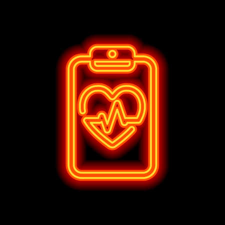 Medical clipboard. Tablet, paper, heart and pulse line. Cardiology report blank. Linear icon with thin outline. Orange neon style on black background. Light icon