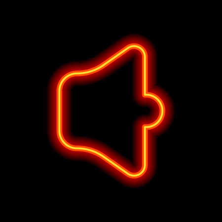 Simple volume max. Orange neon style on black background. Light icon