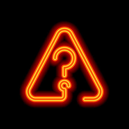 Question mark in warning triangle. Linear icon with thin outline. One line style. Orange neon style on black background. Light icon Illustration
