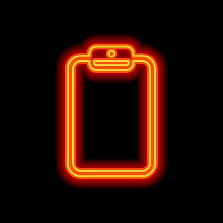 Tablet with paper. Orange neon style on black background. Light icon