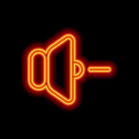 Lautstärke-Minus-Symbol. Orange Neon-Stil auf schwarzem Hintergrund. Lichtsymbol Vektorgrafik