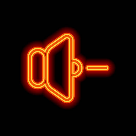volume minus icon. Orange neon style on black background. Light icon Vektoros illusztráció