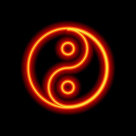 yin yan symbol. Orange neon style on black background. Light icon Illustration