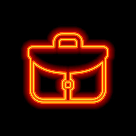 Briefcase, office bag. Orange neon style on black background. Light icon